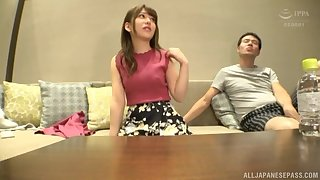 After long day Arimura Nozomi is on her knees blowing hard cock
