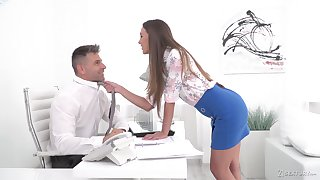 Sexy secretary Karina Grand enjoys sex with her colleague in her office