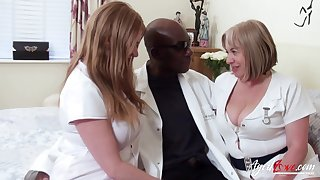 Two chubby head nurses bang one black man and erode his cum greedily