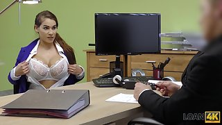 Ample breasted babe Mischel gives a blowjob with the addition of gets fucked for loan