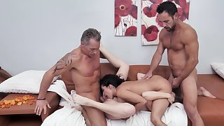 Uncovered women swap partners in rough XXX lodging foursome