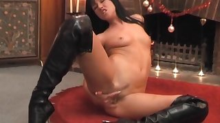 Brunette babe Lolly Badcock tries out a big trinket on her wet pussy